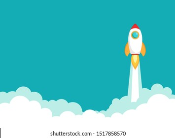 Rocket ship flies up with sky clouds on blue background. Flat icon. Vector illustration with flying shuttle. Space travel. Space rocket launch. New project start up concept. Creative idea.