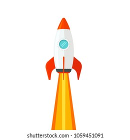 Rocket ship flying isolated on white background vector illustration, flat cartoon design of rocketship launch, missile flight