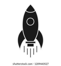 Rocket ship icon isolated on white background. Travel illustration .