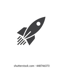 rocket ship icon vector, solid logo, pictogram isolated on white, pixel perfect illustration