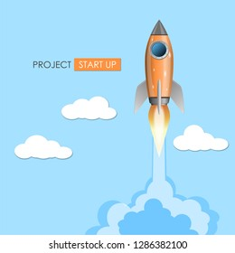 Rocket ship launch, project start up concept, vector illustration