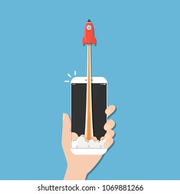 Rocket ship in smart phone flat style,Vector communication concept.