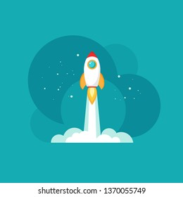 Rocket ship with space and stars on blue background. Flat icon. Vector illustration with flying shuttle.