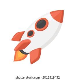 Rocket Sign Emoji Icon Illustration. Spaceship Vector Symbol Emoticon Design Clip Art Sign Comic Style.