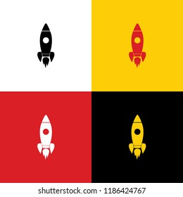 Rocket sign illustration. Vector. Icons of german flag on corresponding colors as background.