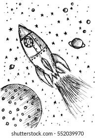 rocket, sketch