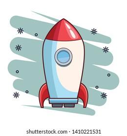 rocket skyrocket cartoon  over blue splash background with stars vector illustration graphic design