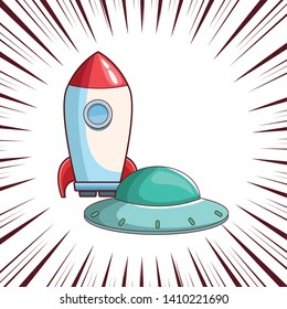 rocket skyrocket with spaceship cartoon  over comic lines background vector illustration graphic design