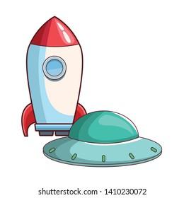 rocket skyrocket with spaceship cartoon vector illustration graphic design