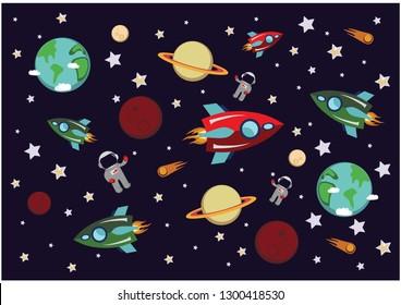 rocket in space. cosmic world