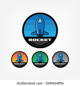 Rocket space mission badges and logo emblems