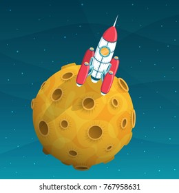 Rocket space ship standing on yellow planet with craters. 3d isometric illustration.