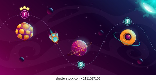 Rocket space trip concept. Galaxy game design. Vector cosmic illustration.