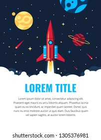The rocket in the space vector flat design illustration. Good concept for business technology. Detailed satellite in the space. Abstract template for banners and pop ups.