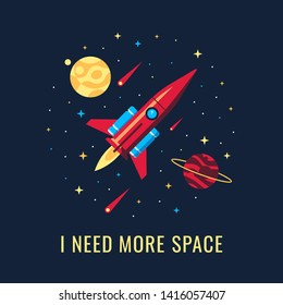 The rocket in the space vector flat design illustration. Good concept for magazines, blog, books illustration. . t-shirt and card design. Vector flat illustration.