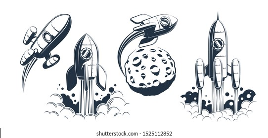 Rocket spaceship launch and flying - retro style. Rocketship monochrome vintage print illustration.