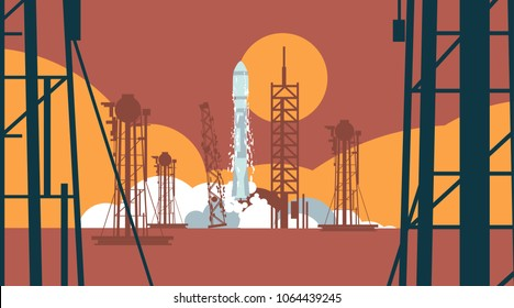 Rocket with spaceship launching at eavening, launchpad construction and gas tanks in front and sun on orange background