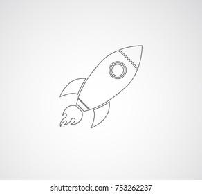 rocket spaceship outline icon