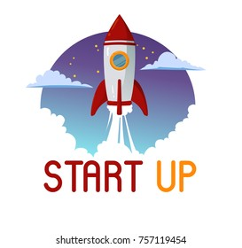 Rocket Start up Business flying on night sky space background with clouds and steam, Flat vector design illustration.