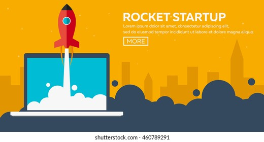Rocket startup. Business. Rocket ship in a flat style.Vector illustration. Space travel to the moon.Space rocket launch. Project start up and development process.Innovation product,creative idea.