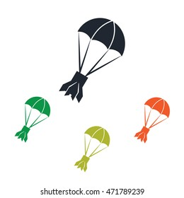 Rocket tail on parachute icon on the background