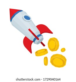 Rocket takeoff. Startup concept illustration with rocket and golden coins. Financial and capitalization successful grow metaphor graphic. Part of set.