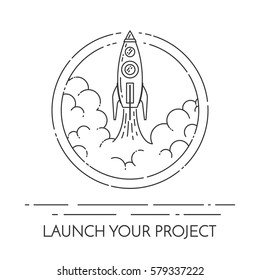 Rocket takes off isolated on white background. Modern line art vector illustration - concept for new business project start-up or launch of new products.