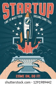 A rocket taking off from a laptop. Vintage retro poster with a dark background. Startup concept. Vector illustration. Worn texture on separate layer.