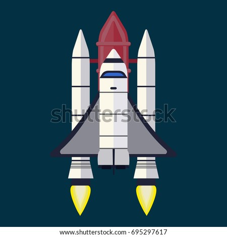 Rocket Vector Space Technology Ship Rocket Stock Vector Royalty