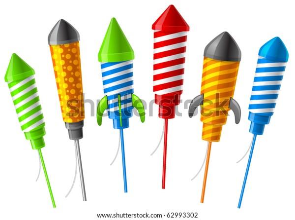 Rockets for fireworks. Vector