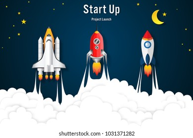 Rockets launch flying, half moon, clouds and stars in the night as business, start up project, paper art and craft style concept. vector illustrator.