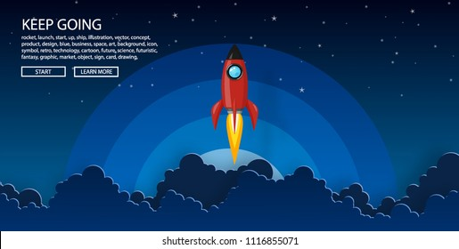 rockets launch into the night sky with text ,label, stars and clouds on background. business or startup concept