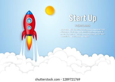 Rockets launch on the clouds and blue sky as paper art, craft style and business Startup project concept. flat design vector illustration.