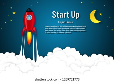 Rockets launch on the clouds in night sky as paper art, craft style and business Startup project concept. flat design vector illustration.