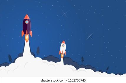 Rockets launching to the space illustration. Business start up concept flat background