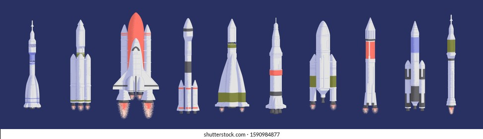 Rockets and spaceships flat vector illustrations set. Space shuttles for universe exploration and interstellar travel. Various spacecrafts isolated on dark blue background. Aerospace engineering.