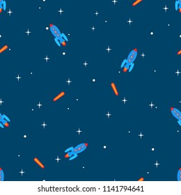 Rockets, stars and falling stars in the universe as seamless pattern
