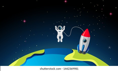 Rocketship and astronuat on earth illustration