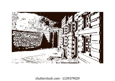 Rock-Hewn Churches of Lalibela, Ethiopia. Hand drawn sketch illustration in vector.
