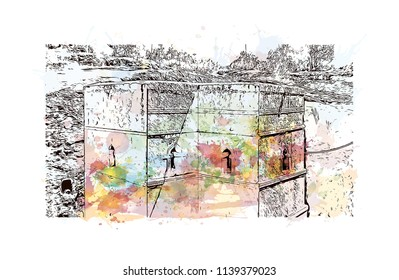 Rock-Hewn Churches of Lalibela, Ethiopia. Watercolor splash with Hand drawn sketch illustration in vector.