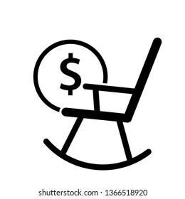 Rocking chair with coin icon. Clipart image isolated on white background