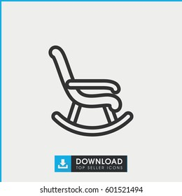 rocking chair icon. simple outline rocking chair vector icon. on white background.