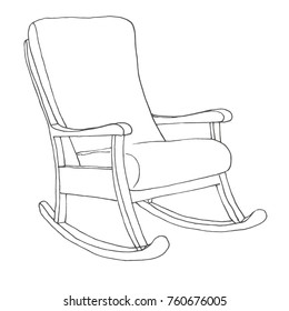 Rocking chair drawing Art Rocking Chair Isolated On White Background Sketch Comfortable Chair Vector Illustration Shutterstock Rockingchair Images Stock Photos Vectors Shutterstock