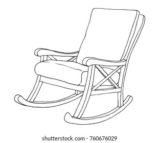 Rocking chair isolated on white background. Sketch a comfortable chair. Vector illustration.