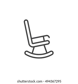 rocking chair line icon, outline vector sign, linear pictogram isolated on white. logo illustration