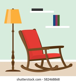 Rocking chair next to a lamp. Vector illustration