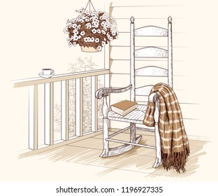 Rocking chair with plaid and a book on the terrace with petunias in a hanging pot and a cup of coffee on the railing.  Hand-drawn vector illustration in vintage style.  Interior sketch.