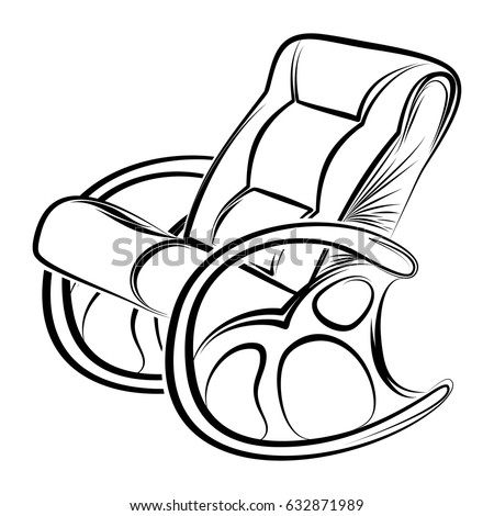 Rocking Chair Rocker Style Linear Art Stock Vector Royalty Free