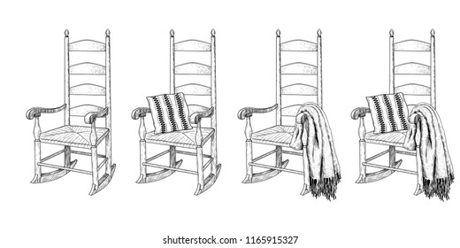 Rocking chair.Vintage collection of rocking chairs with various accessories.Hand-drawn vector illustration in a sketch style. Isolated design elements. Clipart.