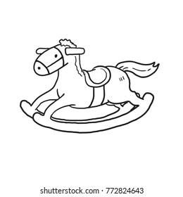 Rocking horse cartoon outline vector drawn